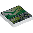 LEGO White Tile 2 x 2 with Decoration with Groove (74343)