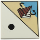 LEGO White Tile 2 x 2 with Decoration with Groove (87542)