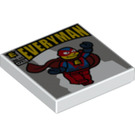 LEGO White Tile 2 x 2 with Everyman Comic Decoration with Groove (20818)