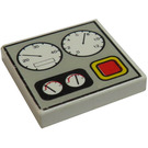 LEGO White Tile 2 x 2 with Gauges and Red Button Decoration with Groove