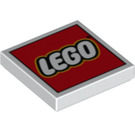 LEGO White Tile 2 x 2 with LEGO Logo on Red Decoration with Groove (11149 / 14875)