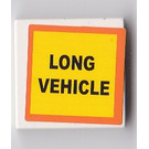 """LEGO White Tile 2 x 2 with """"LONG VEHICLE"""" Sticker with Groove"""