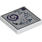 LEGO White Tile 2 x 2 with Minifigure, Arrow, Ruler and Molecules with Groove (20270)