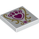 LEGO White Tile 2 x 2 with Royal Pets Logo with Groove (24897)