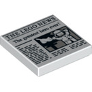 "LEGO White Tile 2 x 2 with The Lego News ""The greatest Hero ever!"" with Groove (37475)"