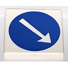 LEGO White Tile 2 x 2 with White Arrow in Blue Circle Decoration with Groove