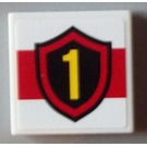 LEGO White Tile 2 x 2 with Yellow Number 1 in Fire Badge