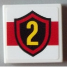 LEGO White Tile 2 x 2 with Yellow Number 2 in Fire Badge