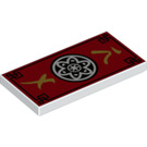 LEGO White Tile 2 x 4 with Red, Black and Gold Ninjago Decoration (45016)