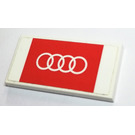 LEGO White Tile 2 x 4 with White Audi Emblem on red background Sticker