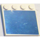 LEGO White Tile 4 x 4 with Studs on Edge with mirror Sticker from set 3187