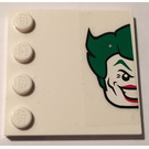 LEGO White Tile 4 x 4 with Studs on Edge with Sticker from set 6857