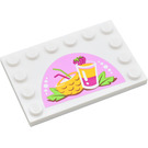 LEGO White Tile 4 x 6 with Edge Studs with Drinks Sticker from Set 41035