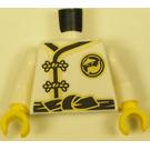 LEGO White Torso Ninjago with Gold Buckles