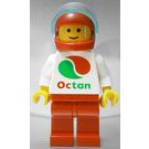 LEGO White Torso Octan Logo, Red Legs, Red Helmet, Trans-Light Blue Visor Minifigure
