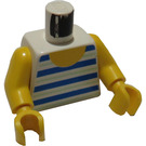 LEGO White Torso with Thick Blue and Thin Medium Green Stripes with Yellow Arms and Yellow Hands