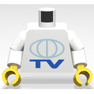 LEGO Town Torso with TV logo with white arms and yellow hands (973)