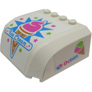 LEGO White Wedge 5 x 6 x 2 Curved with 'Ice Cream' on Front and Octan Pattern on Both Sides Sticker
