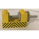 LEGO Winch 2 x 4 x 2 with Light Grey Drum with Yellow and Black Danger Stripes Sticker (73037)