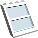 LEGO Window 4 x 4 x 3 Roof with Centre Bar and Transparent Light Blue Glass (6159)