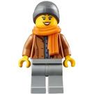 LEGO Woman in Medium Dark Flesh Jacket Minifigure