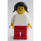 LEGO Woman with White Torso, Red Legs, Black Pigtails Minifigure