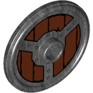 LEGO Wooden Round Shield with Iron Ring and Plates with Rivets Pattern (18695)