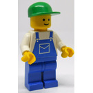 LEGO Worker, Blue Overalls, Green Cap Minifigure