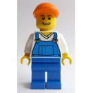 LEGO Worker in overalls with orango cap Minifigure