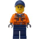 LEGO Worker with Dark Blue Cap, Dark Stone Gray Hoody, Dark Blue Legs Minifigure