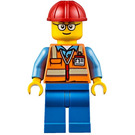 LEGO Worker with Safety Vest, Red Construction Helmet, Glasses Minifigure