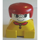 LEGO Yellow 2x2 Duplo Base Brick Figure - Red hair, White head, Red collar and Heart Buttons Pattern Duplo Figure