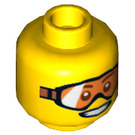 LEGO Yellow Arctic Explorer, Male with Orange Goggles Minifigure Head (Safety Stud) (17185 / 18355)