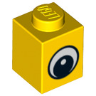 LEGO Yellow Brick 1 x 1 with Eye with White Spot on Pupil (88394)