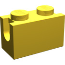 LEGO Yellow Brick 1 x 2 with Digger Bucket Arm Holder (3317)