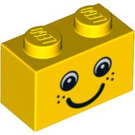 LEGO Yellow Brick 1 x 2 with Smiling Face with Freckles (88399)