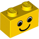 LEGO Yellow Brick 1 x 2 with Smiling Face without Freckles (83201)
