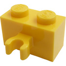 LEGO Yellow Brick 1 x 2 with Vertical Clip (thick open 'O' clip) (30237 / 95820)