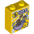 LEGO Yellow Brick 1 x 2 x 2 with Cereal Box Decoration with Inside Stud Holder (51870)