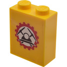 LEGO Yellow Brick 1 x 2 x 2 with Miners Helmet  Sticker