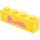 LEGO Yellow Brick 1 x 4 with Belville Sticker