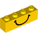 LEGO Brick 1 x 4 with Black Smile (82356)