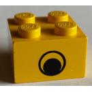 LEGO Yellow Brick 2 x 2 with Black Eye