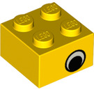 LEGO Yellow Brick 2 x 2 with Eye without Pupil (81910)