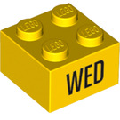 """LEGO Yellow Brick 2 x 2 with """"WED"""" (14802 / 97628)"""