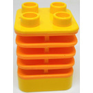 LEGO Yellow Brick 2 x 2 x 2 with Dark Orange Flex