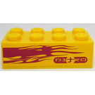LEGO Yellow Brick 2 x 4 with flames and NITRO on yellow background (left) Sticker