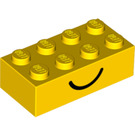 LEGO Yellow Brick 2 x 4 with Happy and Sad Face (80141)
