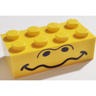 LEGO Yellow Brick 2 x 4 with Unibrow Eyes and Wavy Mouth