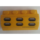 LEGO Yellow Brick 2 x 4 x 1.33 with Curved Top with Sticker from Set 7774